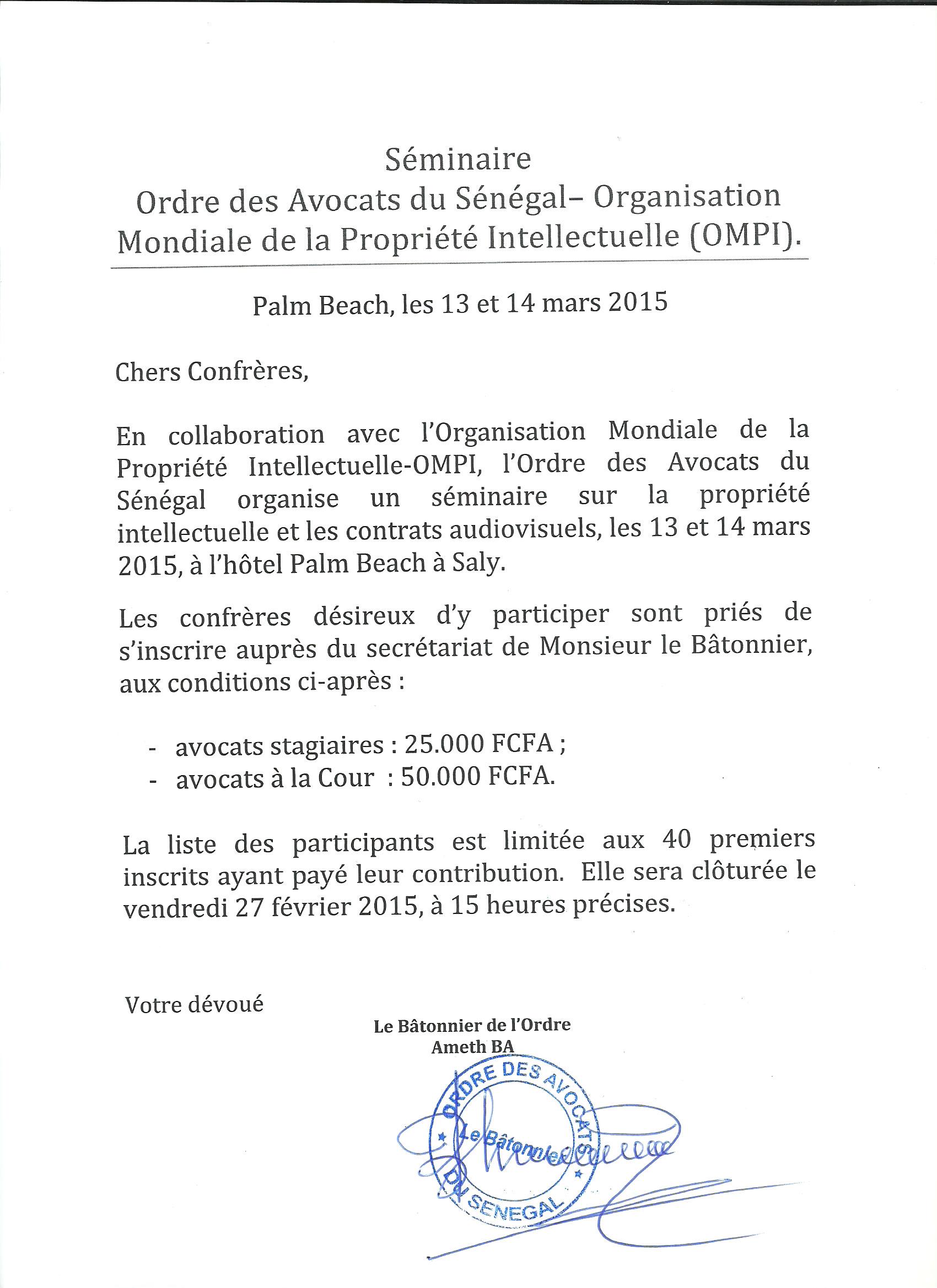 Séminaire Ordre des Avocats du Sénégal – Organisation Mondiale de