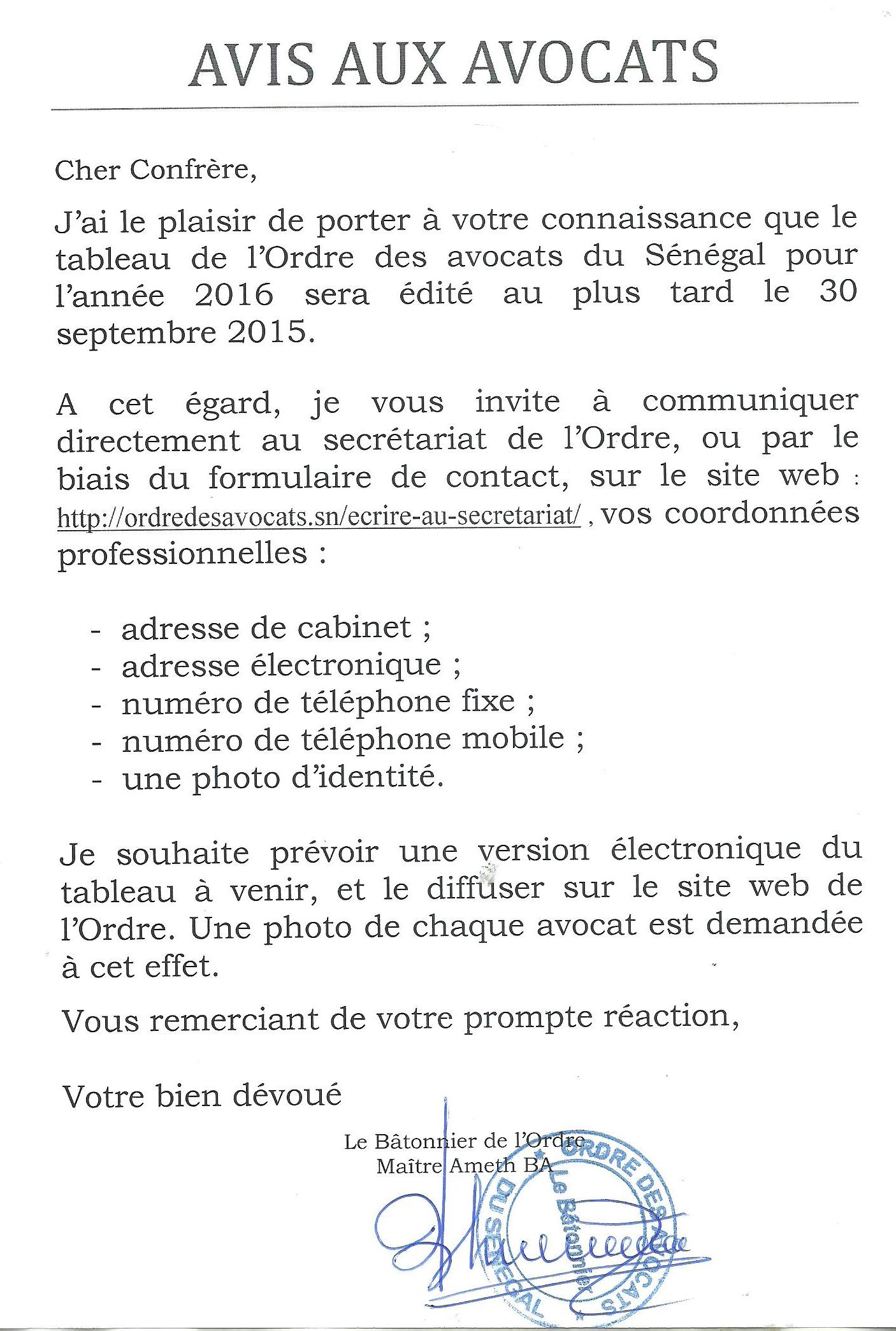 Edition 2016 du Tableau de l ordre des avocats du Sénégal