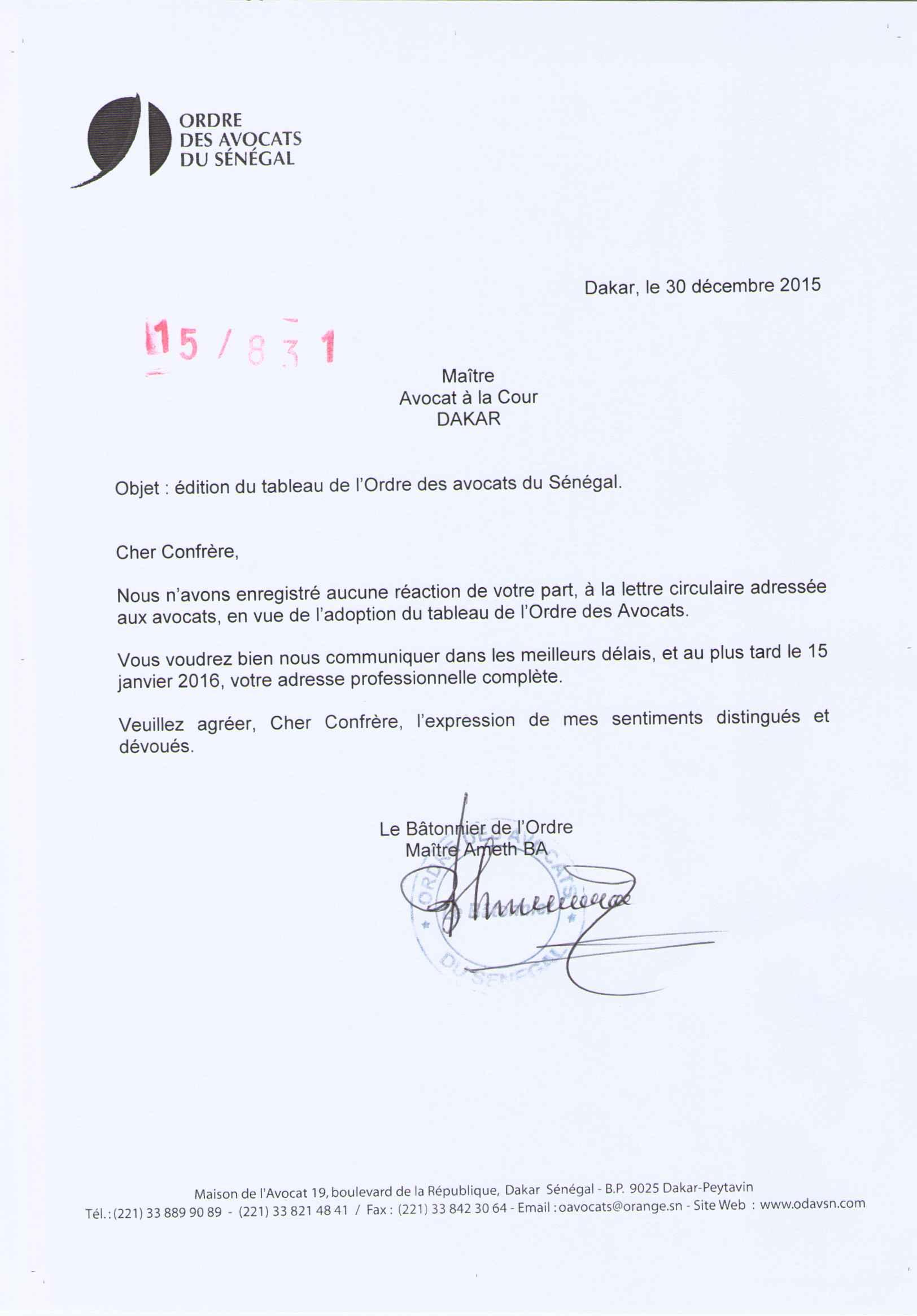 Edition du Tableau de l Ordre des avocats du Sénégal