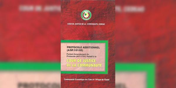 Protocole Additionnel (A/SP.1/01/05) portant amendement du Protocole (A/P.1/7/91) Relatif à la Cour de Justice de la Communauté