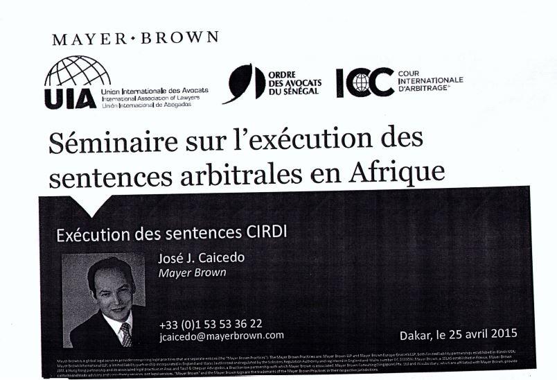 Document : Séminaire sur l'exécution des sentences arbitrales en Afrique