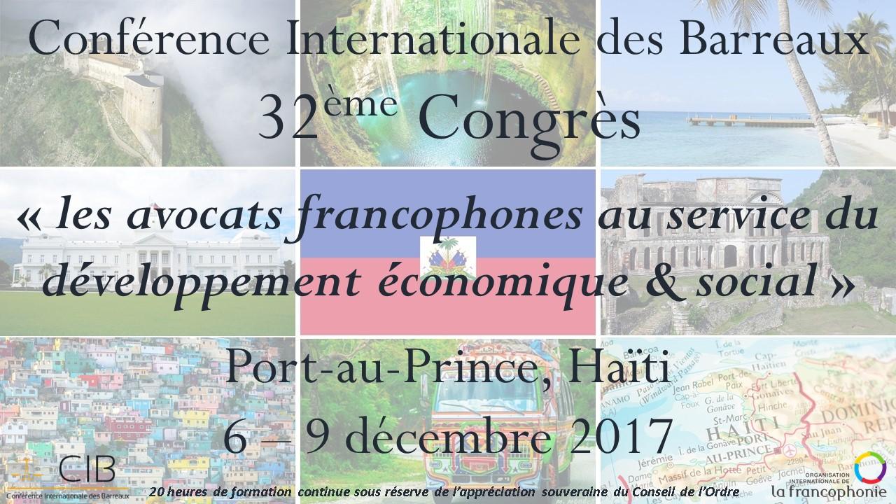 Invitation au 32e congrès de la CIB à Port-au-Prince en Haïti du 6 au 9 décembre 2017