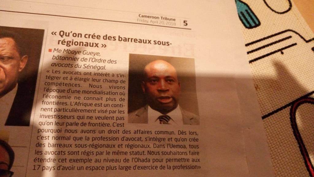 Me Mbaye GUEYE : Qu'on se crée des barreaux sous-régionnaux