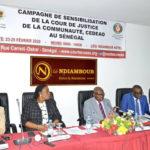 Campagne de sensibilisation de la Cour de justice de la communauté, CEDEAO au Sénégal