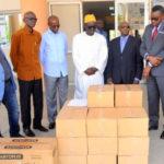 Remise de gel et de masques à la Cour d'Appel de Dakar, dans le cadre de la lutte contre les effets de la pandémie du coronavirus (COVID-19)